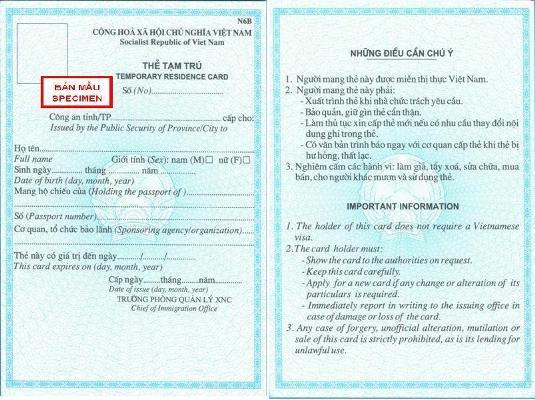 Hồ sơ cấp thẻ tạm trú cho người nước ngoài làm việc tại Nghệ An